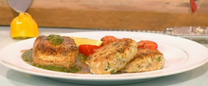 pan fried halibut with crab cakes and oven roast tomatoes on Saturday Kitchen