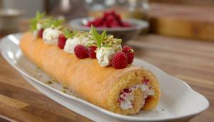 Swiss Roll with homemade Raspberry Jam