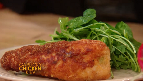 Rachael Ray's Garlicky Chicken Kiev with Herb Salad recipe on The Rachael Ray show