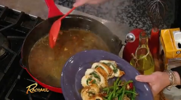Rachael Ray lemon sauce recipe for Chicken Rolls with Herbs on The Rachael Ray Show