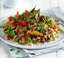 Gluten-free vegetarian Asian quinoa stir-fry