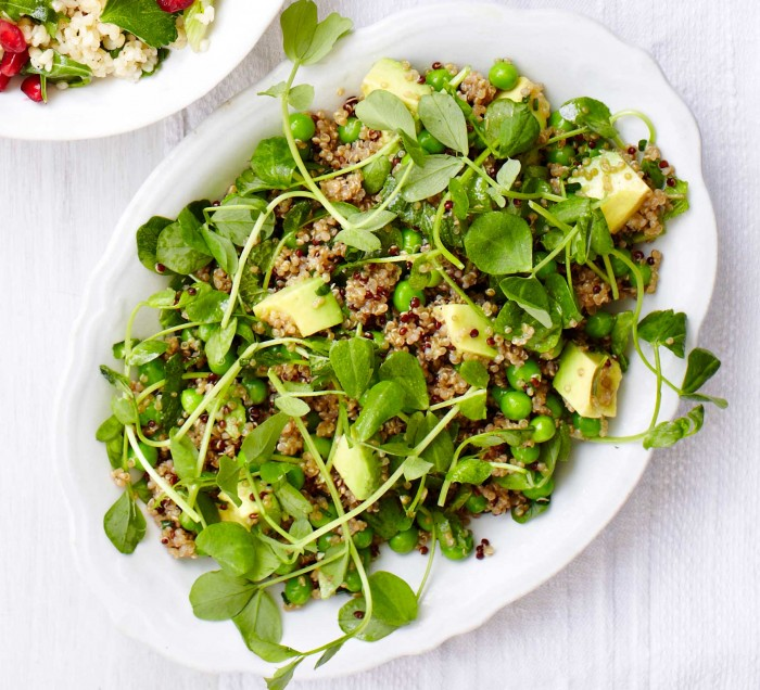 A delicious quinoa, pea and avocado salad that is perfect for a hot summer day.