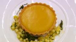Joey's passion fruit curd with sweet shortcrust pastry tart  on MasterChef: The Professionals