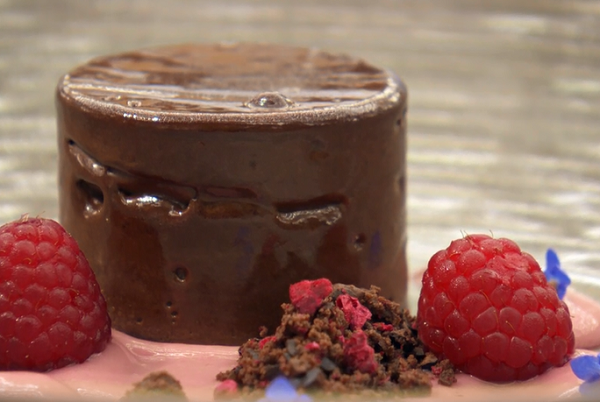 Daren's chocolate mousse with raspberry on MasterChef: The Professionals