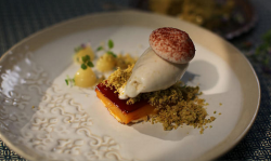 Shane Delia orange blossom egg custard with pear sorbet recipe on Shane Delia's Moorish Spice Jo ...