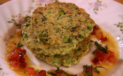 Ainsley Harriott rosti with peas, courgette and a tangy tomato dressing on Best Ever Dishes
