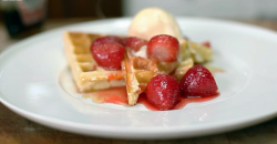 James Martin's waffles with maple syrup, strawberries and ice cream on Best Ever Dishes