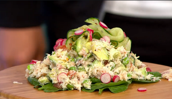 Simon Rimmer's Crab Avocado with Pickled Cucumber Salad Recipe on Sunday Brunch