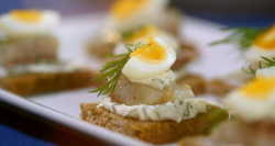 Quails Egg and Dill Herrings Canape on Mary Berry's Easter Feast