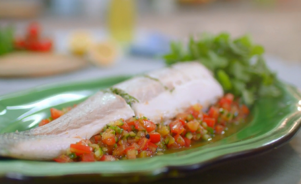 Whole Seabass With Tomato and Citrus Salas on Mary Berry's Easter Feast