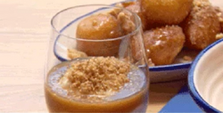 Blue team's rice pudding with butterscotch brandy on MasterChef Australia