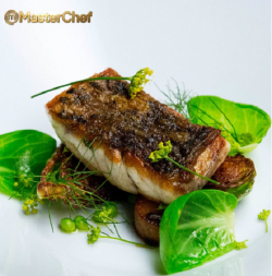 Matt's crispy skin barramundi fish dish with prawn broth on Masterchef Australia