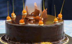 Andrew's chocolate coated mirror glaze cake on The Great British Bake Off
