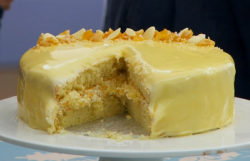 Benjamina's praline with white chocolate mirror glaze cake on The Great British Bake Off