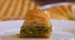 Armid's Baklava dessert using a old Turkish recipe  on The great British Bake Off