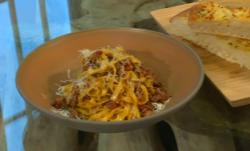 Gennaro Contaldo's bolognese ragù with Focaccia bread on Satuirday Kitchen