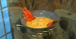 Michel Roux Jr. lobster and roquefort gratin dish on Saturday Kitchen