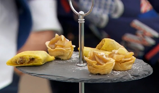 ... and spinach samosas and chai pears cups on The Great British Bake Off
