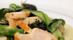 Rupert and Louise's roast chicken with seasonal greens dish on Yes Chef