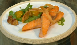 Michel Roux Jr. salmon fillet with ceps and green sauce dish on Saturday Kitchen
