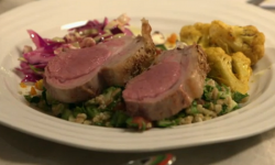 Beverley and Sarah's Berrow lamb with spelt tabbouleh on My Kitchen Rules