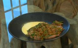 Rick Stein Liver with Parmesan polenta dish on Saturday Kitchen