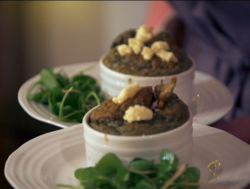 Beverley and Sarah's nettle souffle starter on My Kitchen Rules