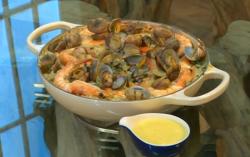 Rick Stein's Spanish clams, prawns, aioli and rice dish on Saturday Kitchen