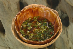 Tom Sellers Squid with wild leaves and a mushroom broth dish on Saturday Kitchen