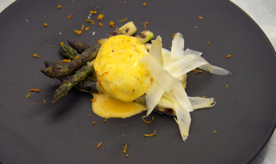 Monica's sauce maltaise with  asparagus and a poached egg on MasterChef: The Professionals