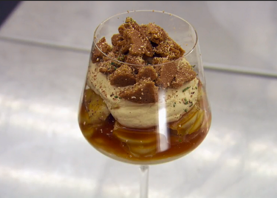 Marcus Wareing's banoffee cheesecake with caramel bananas on MasterChef: The Professionals