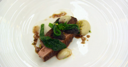 Elly's duck with pistachios and red wine sauce dish on MasterChef The Professionals