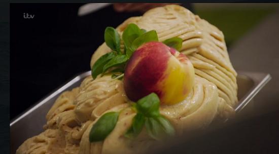 JonLuca's peach Italian gelato on Gino's Italian Escape: Hidden Italy