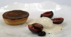 Elly's liquid dark chocolate tarts with cherries and almond ice cream dessert on MasterChe ...