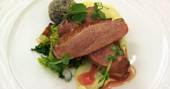 Matt's duck breast dish on Masterchef The Professionals