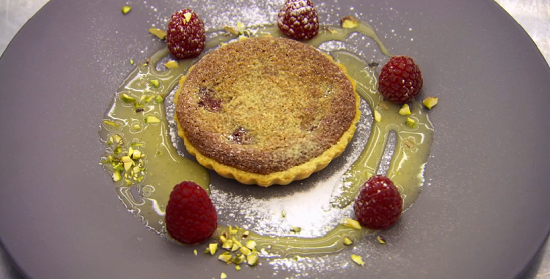 Monica's pistachio and raspberry tart with chocolate creme anglaise dessert on Masterchef  ...
