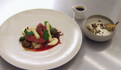 Kevin's pigeon with pearl barley risotto dish on Masterchef The Professionals