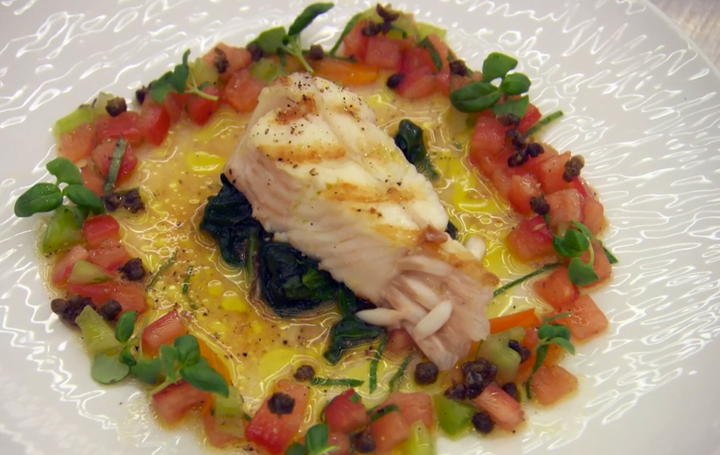 Monica's T-bone of plaice with a sauce vierge dish on MasterChef The Professionals