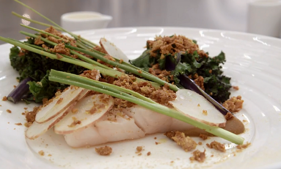 Josh's pollock with beurre blanc sauce dish on MasterChef: The Professionals 2015 UK