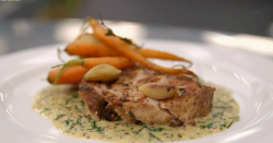 Marcus Wareing's pork chop with roasted carrots and mustard sauce dish on MasterChef: The  ...