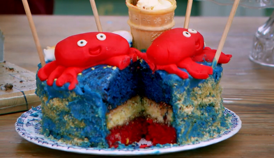 Evie's seaside memories cake on Junior bake Off UK