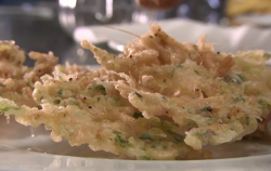 Shrimp pancake fritters Spanish sea food on Rick Stein's Long Weekends