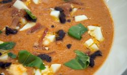 Marcus Wareing's cold Andalusian tomato soup with egg and ham on MasterChef: The Professionals