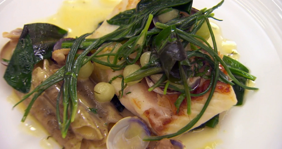 Elly's turbot with seaweed macaroni verju and cucumber butter sauce a on MasterChef: The P ...