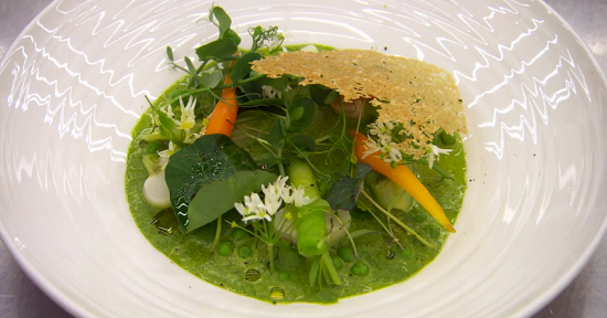 Marcus Wearing's wild garlic veloute soup on Masterchef The Professionals