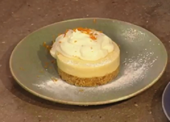 Andi's Clementine curd tart with a white chocolate mousse dessert on Christmas Kitchen