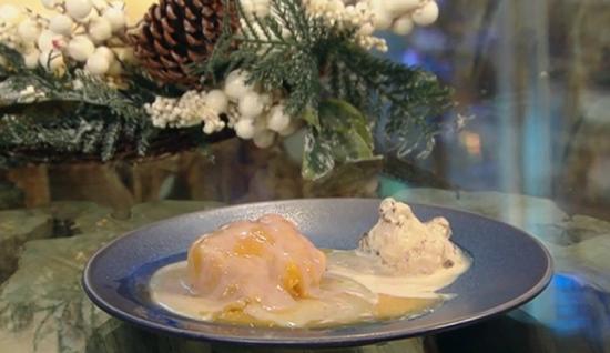 John Torode's Christmas pudding dessert with almond and Christmas pudding ice cream on Sat ...