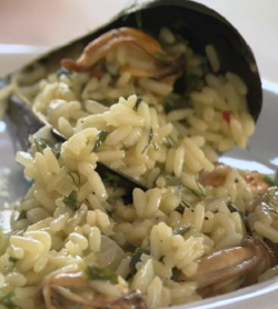 Greek mussels and rice dish on Rick Stein's Long Weekends