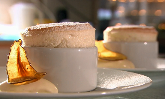 Sam's pear souffle with ice cream on Rick Stein's Cornish Christmas