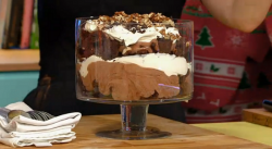 Clodagh's chocolate pecan brownie trifle with orange blossom cream Christmas dessert on Su ...